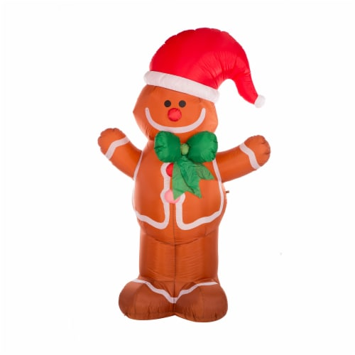 Glitzhome Lighted Inflatable Gingerbread Man Christmas Decor Perspective: front