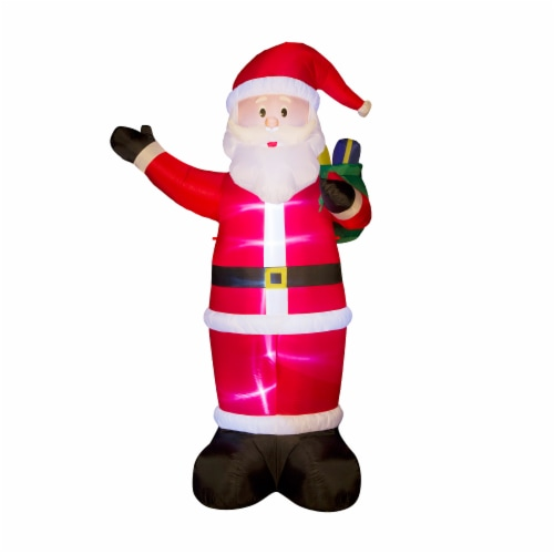 Glitzhome  Lighted Inflatable Santa Holiday Decor Perspective: front