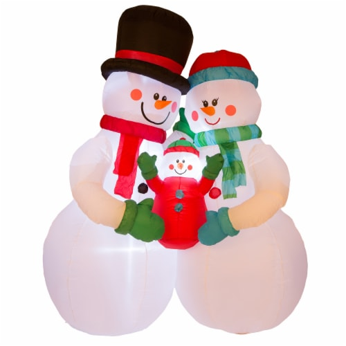 Glitzhome Lighted Inflatable Snowman Family Christmas Decor Perspective: front