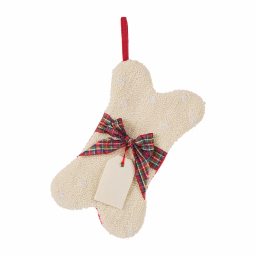Glitzhome Plaid Bow Bone Shaped Stocking - White/Red Perspective: front