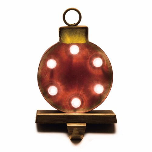 Glitzhome Marquee LED Ornament Stocking Holder Perspective: front