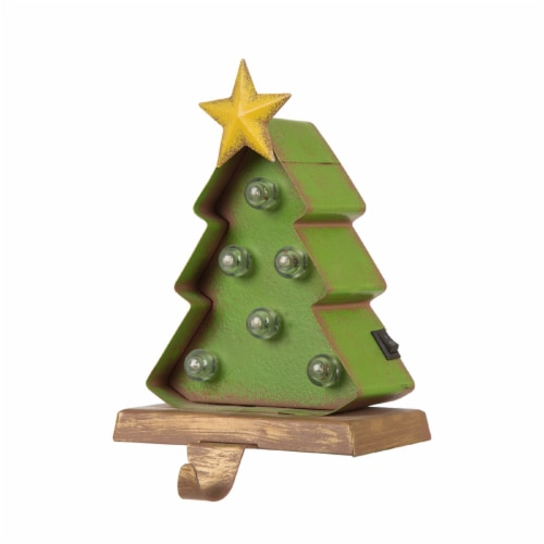 Glitzhome Wood and Metal Christmas Tree Stocking Holder with LED Lights Perspective: front
