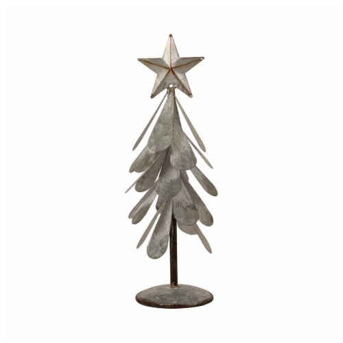 Glitzhome Galvanized Metal Christmas Tree Decor - Silver Perspective: front