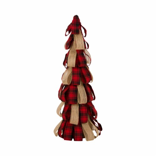 Glitzhome Plaid Fabric/Burlap Christmas Table Tree Decoration Perspective: front