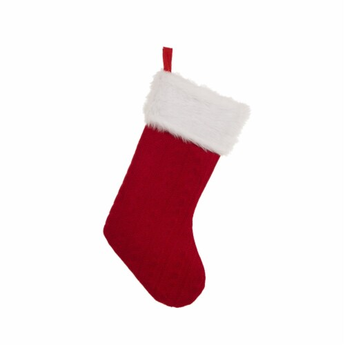 Glitzhome Plush Stocking with Faux Fur Cuff - Red/White Perspective: front