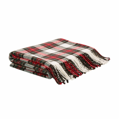 Glitzhome Acrylic Plaid Woven Tassel Throw Blanket - Red/White Perspective: front