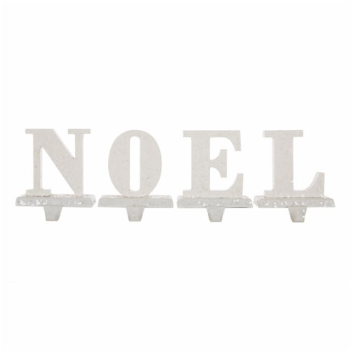 Glitzhome Wood and Metal Noel Christmas Stocking Holder Set Perspective: front