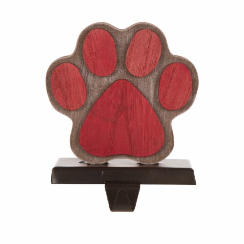 Glitzhome Handcrafted Paw Christmas Stocking Holder - Red Perspective: front