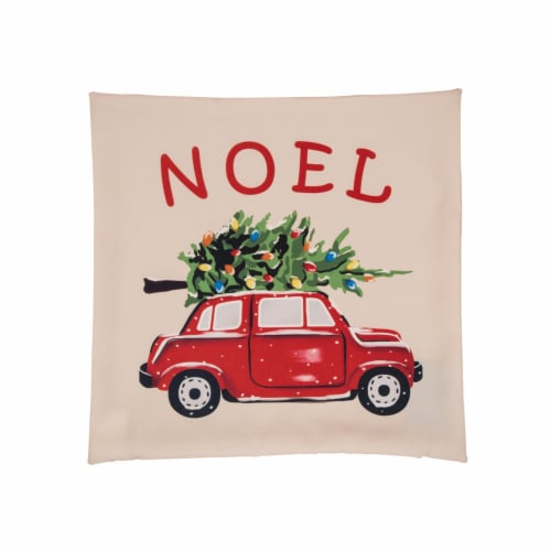 Glitzhome Polyester Truck Square Throw Pillow Cover - Red Perspective: front