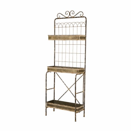 Glitzhome 3-Tier Gold Farmhouse Metal Shelf Storage Planter Stand Perspective: front