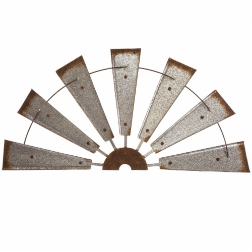 Glitzhome Galvanized Half Windmill Spinner Wall Decor Perspective: front