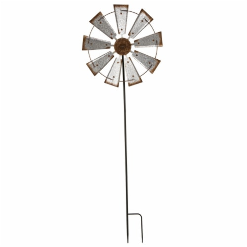 69.41''H Farmhouse Metal Galvanized Wind Spinner Yard Stake or Wall décor Perspective: front