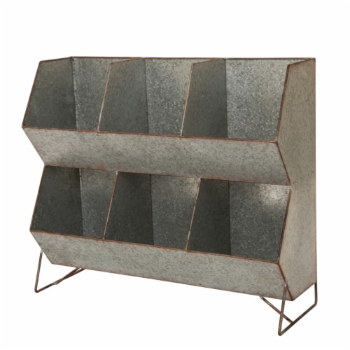 Glitzhome Farmhouse Storage Shelf - Galvanized Metal Perspective: front