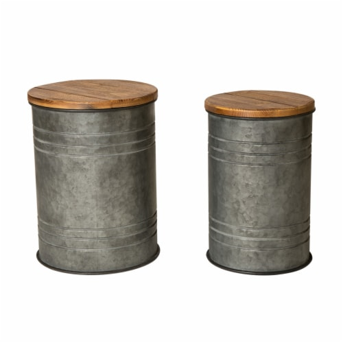 Glitzhome Galvanized Metal Seat Storage Stools Pair Perspective: front