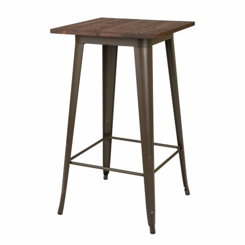 Glitzhome Rustic Steel Bar Table with Elm Wood Top - Coffee Perspective: front