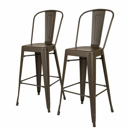 Glitzhome Rustic Steel Backrest Bar Stools with High Back - Set of 2 - Coffee Perspective: front