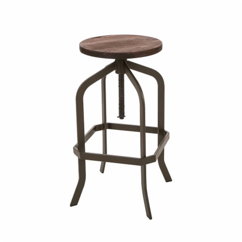 Glitzhome Rustic Metal Revolving Stool with Elm Wood Seat - Coffee Perspective: front