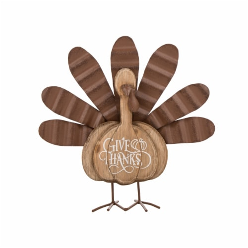 Glitzhome Wooden/Metal Turkey Table Decoration Perspective: front
