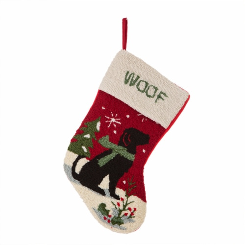 Glitzhome Dog Hooked Christmas Stocking Perspective: front
