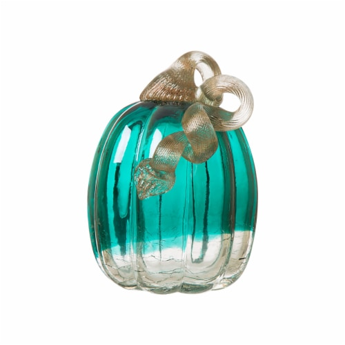 Glitzhome Crackle Glass Handmade Pumpkin - Turquoise Perspective: front