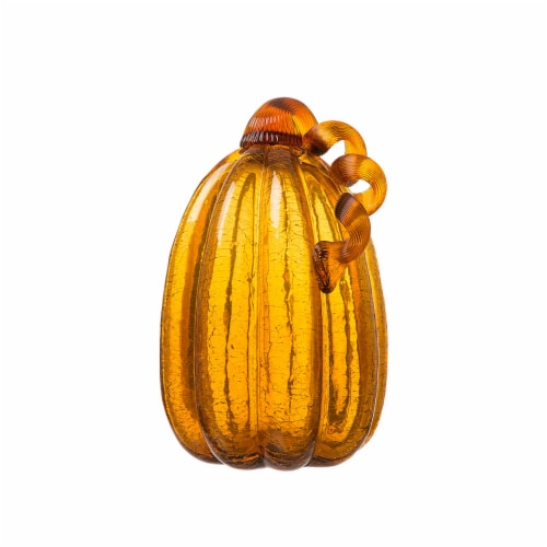 Glitzhome Glass Fall Pumpkin - Amber Crackle Perspective: front