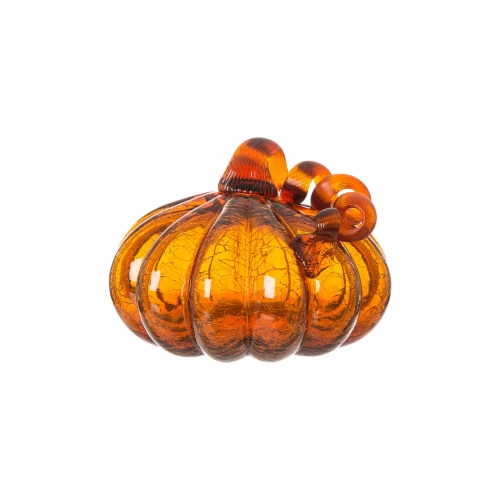 Glitzhome Crackle Glass Pumpkin Decor - Amber Perspective: front