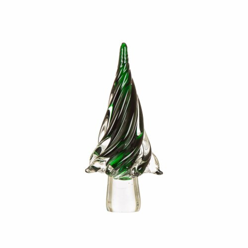 Glitzhome Large Glass Christmas Tree Decor - Green Perspective: front