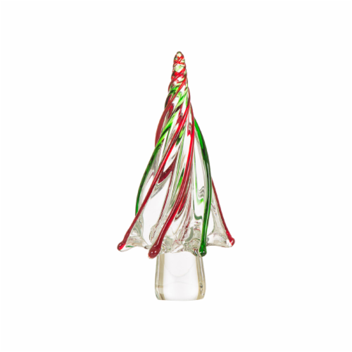 Glitzhome Glass Christmas Tree Table Decoration Perspective: front