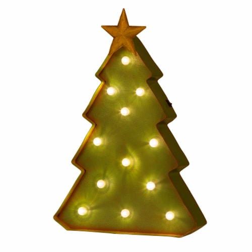 Glitzhome Metal Christmas Tree Marquee Decor Perspective: front