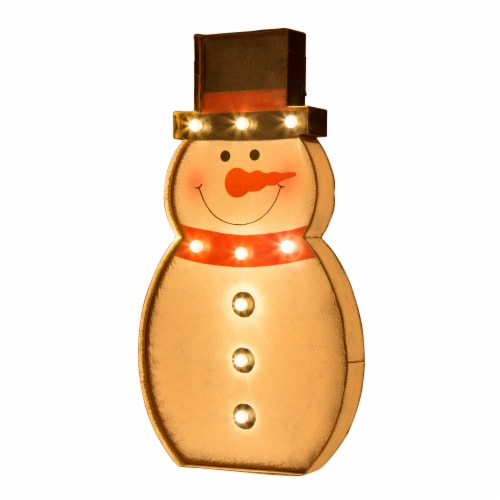 Glitzhome Metal Snowman LED Marquee Christmas Decor Perspective: front