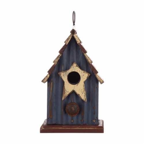 Glitzhome Wooden and Metal Rustic Patriotic Style Outdoor Garden Birdhouse Perspective: front