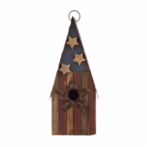Glitzhome Wood and Metal Rustic Bird House Perspective: front