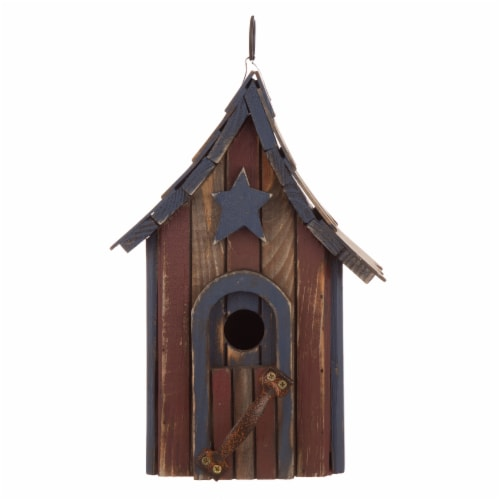 Glitzhome Hanging Distressed Solid Wood Birdhouse Perspective: front