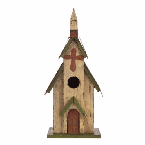 Glitzhome Distressed Solid Wood & Metal Church Birdhouse Perspective: front