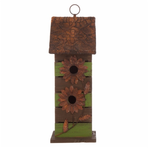 Glitzhome Hanging Two-Tiered Distressed Wooden Birdhouse Perspective: front