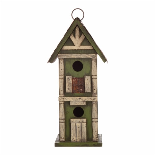 Glitzhome Hanging Two-Tiered Distressed Solid Wood Birdhouse Perspective: front