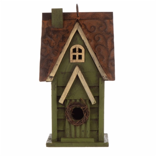 Glitzhome Distressed Solid Wood & Metal Birdhouse Perspective: front