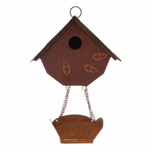 Glitzhome Hanging Distressed Solid Wood Birdhouse with Bird Bath Perspective: front
