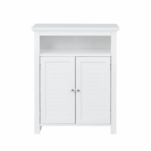 Glitzhome Shelved Floor Cabinet with Double Shutter-Door - White Perspective: front