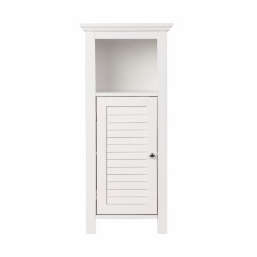Glitzhome Wooden Floor Cabinet with Shutter Door - White Perspective: front