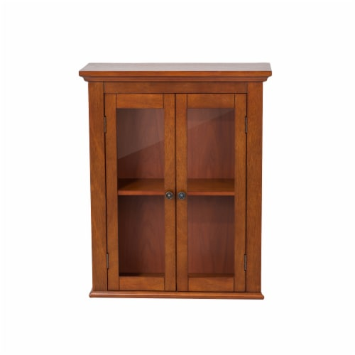 Glitzhome Wooden Wall Cabinet with Double Doors - Russet Perspective: front