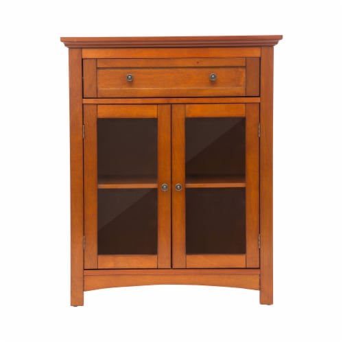 Glitzhome Shelved Floor Cabinet with Double Doors - Russet Perspective: front