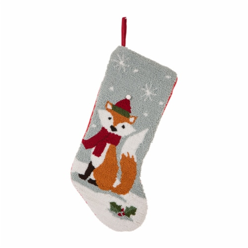 Glitzhome Fox Christmas Stocking Decor Perspective: front