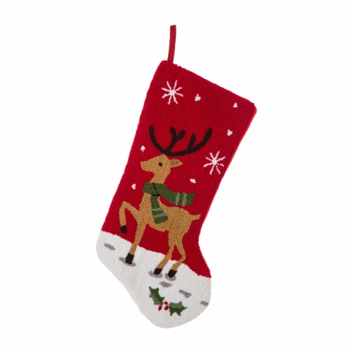 Glitzhome Reindeer Christmas Stocking Perspective: front