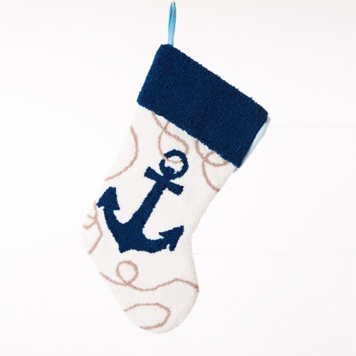 Glitzhome Anchor Christmas Stocking - Blue/White Perspective: front