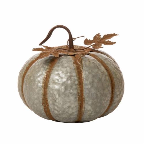 Glitzhome Galvanized Metal Round Pumpkin Perspective: front