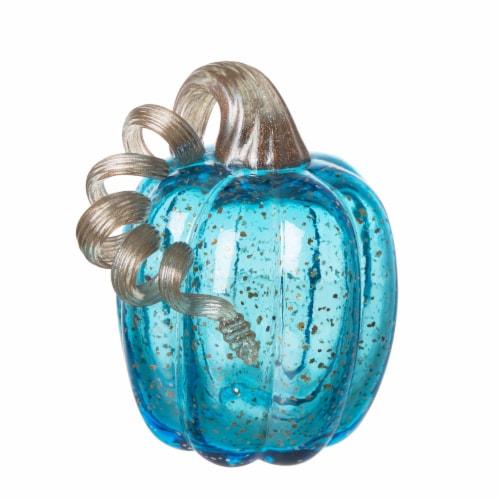 Glitzhome Handmade Glass Pumpkin - Blue Perspective: front