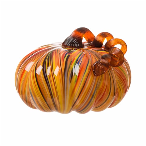 Glitzhome Glass Pumpkin - Large - Multi Striped Perspective: front