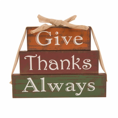Glitzhome Wooden Give Thanks Always Three Block Set Perspective: front