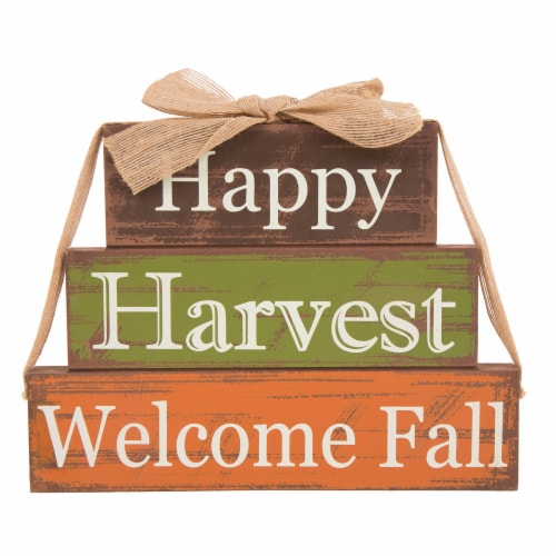 Glitzhome Wooden Happy Harvest Block Set Perspective: front